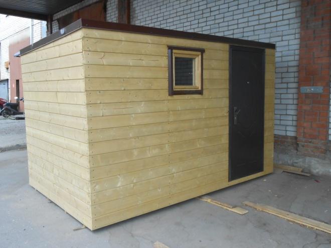 Материал: Внешняя отделка – вагонка , кровля –металлопрофиль, Каркас - дерево, брус 50 мм х 50мм. 50мм х 100мм., дверь, окно. Без утепления. Цена 45 000 руб. Возможны различные размеры и материалы внутренней и внешней отделки. Цена за квадратный метр – 4 500 руб.
