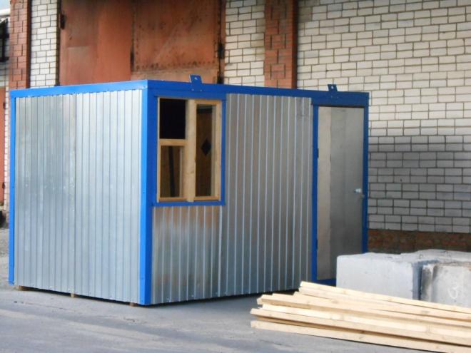 Материал: Внешняя отделка – металлопрофиль, внутренняя отделка – ДВП, кровля –металлопрофиль, утепление – 50мм. пенопласт. окно – деревянное, дверь – металлическая Каркас - дерево, брус 50х50 мм, Электрика в комплекте. Цена 45 000 руб. Возможны различные размеры и материалы. Цена за квадратный метр – 5 500 руб.